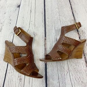Franco Sarto Brown Leather Wedge Sandals